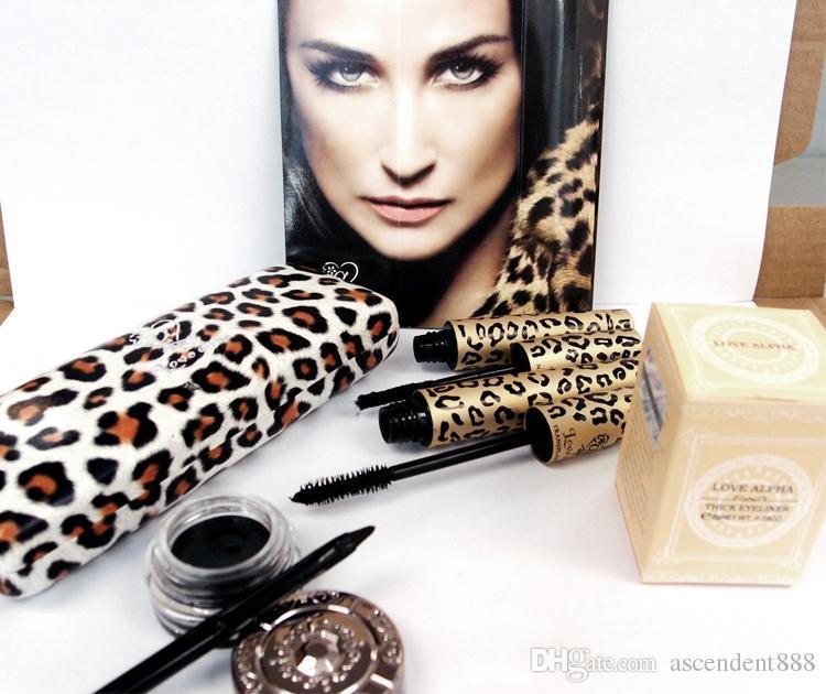 New Love Alpha Mascara Magic Leopard Fiber Mascara Brush Eye Black Makeup Eyelash Grower Eye Black Curling Long Lashes