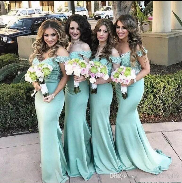 Off The Shoulder Lace Mermaid Bridesmaid Dresses 2017 New Mint Lace Top  Maid Of Honor Gowns Summer Beach Wedding Guest Dresses Custom Made Romantic  ... b533db9017cc