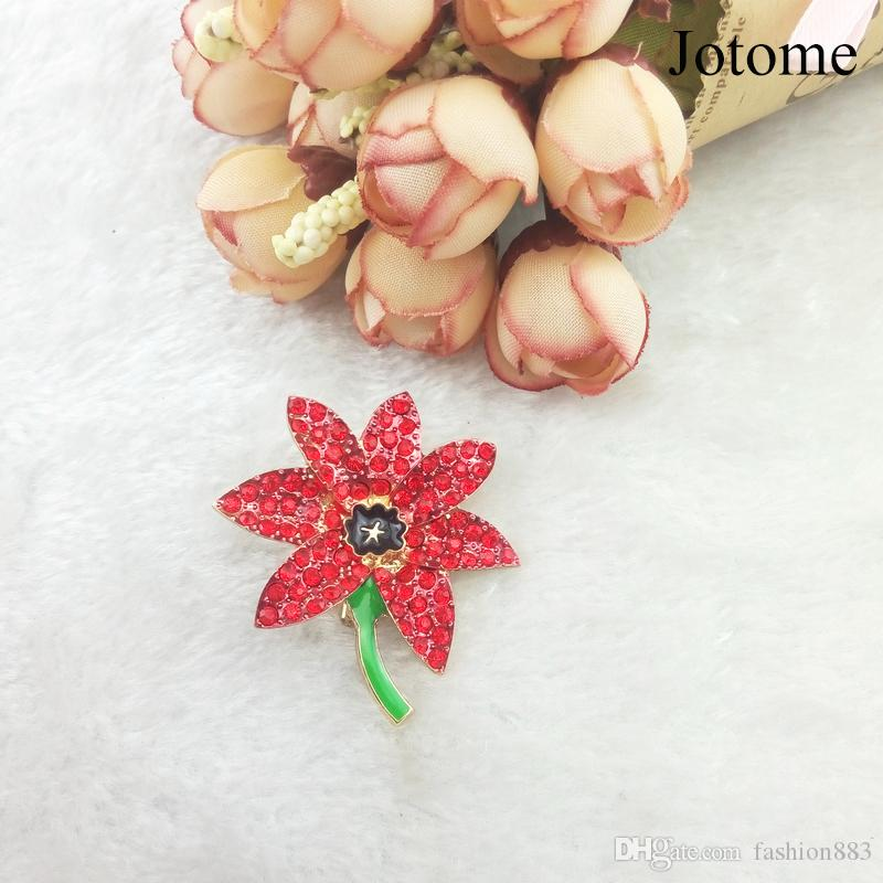 wholesale Very Beautiful Sparkling Gem A Stunning Bright Brooches Red Crystal Rhinestone Poppy Pins