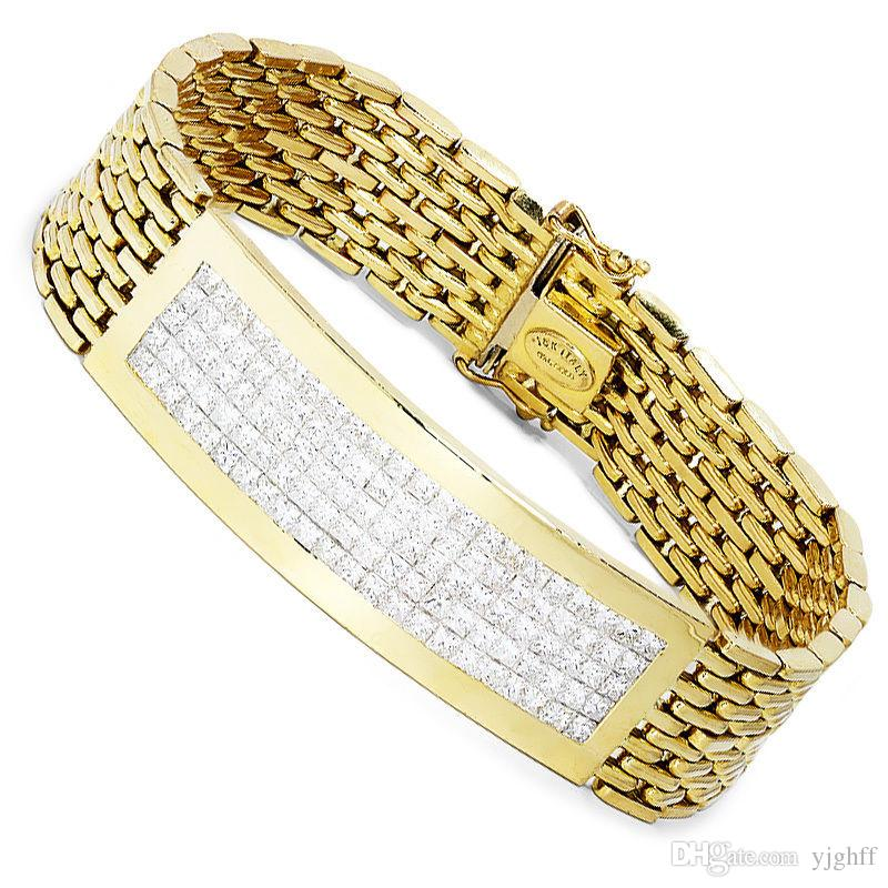 2018 Mens Diamond Bracelet With Princess Cuts Invisible Set 18kt
