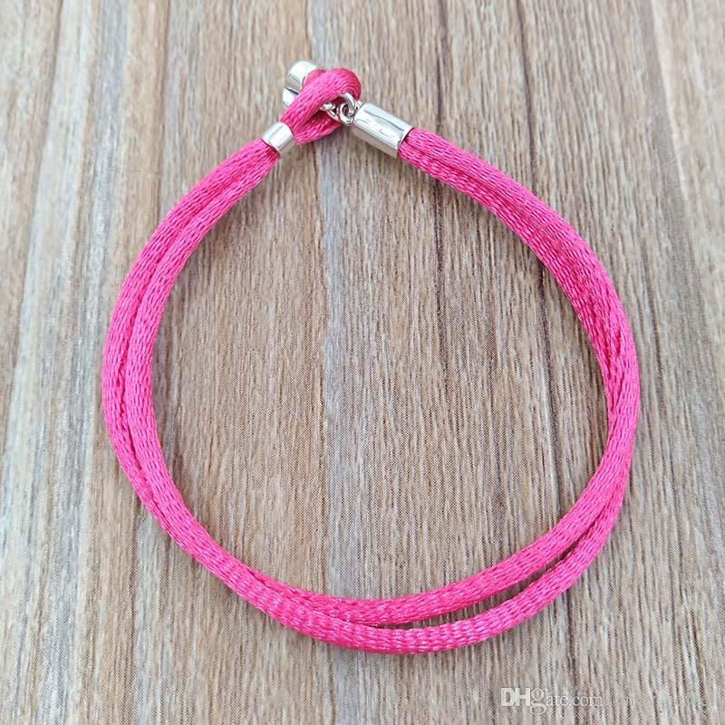 Authentic 925 Bracciale in tessuto in argento 925, rosa caldo Adatto gioielli in stile Pandora europeo Branelli Charms 590749Cph-s