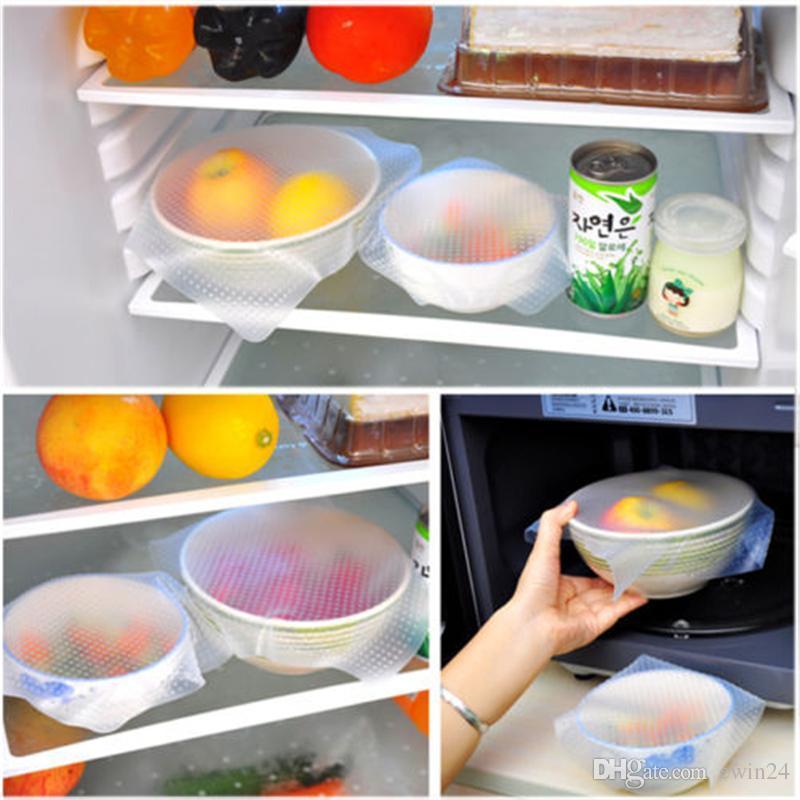 4шт / набор Волшебного силикона еда Wrap уплотнение крышка Stretch мешочки Свежее Keep Держите еду свежих мешочки