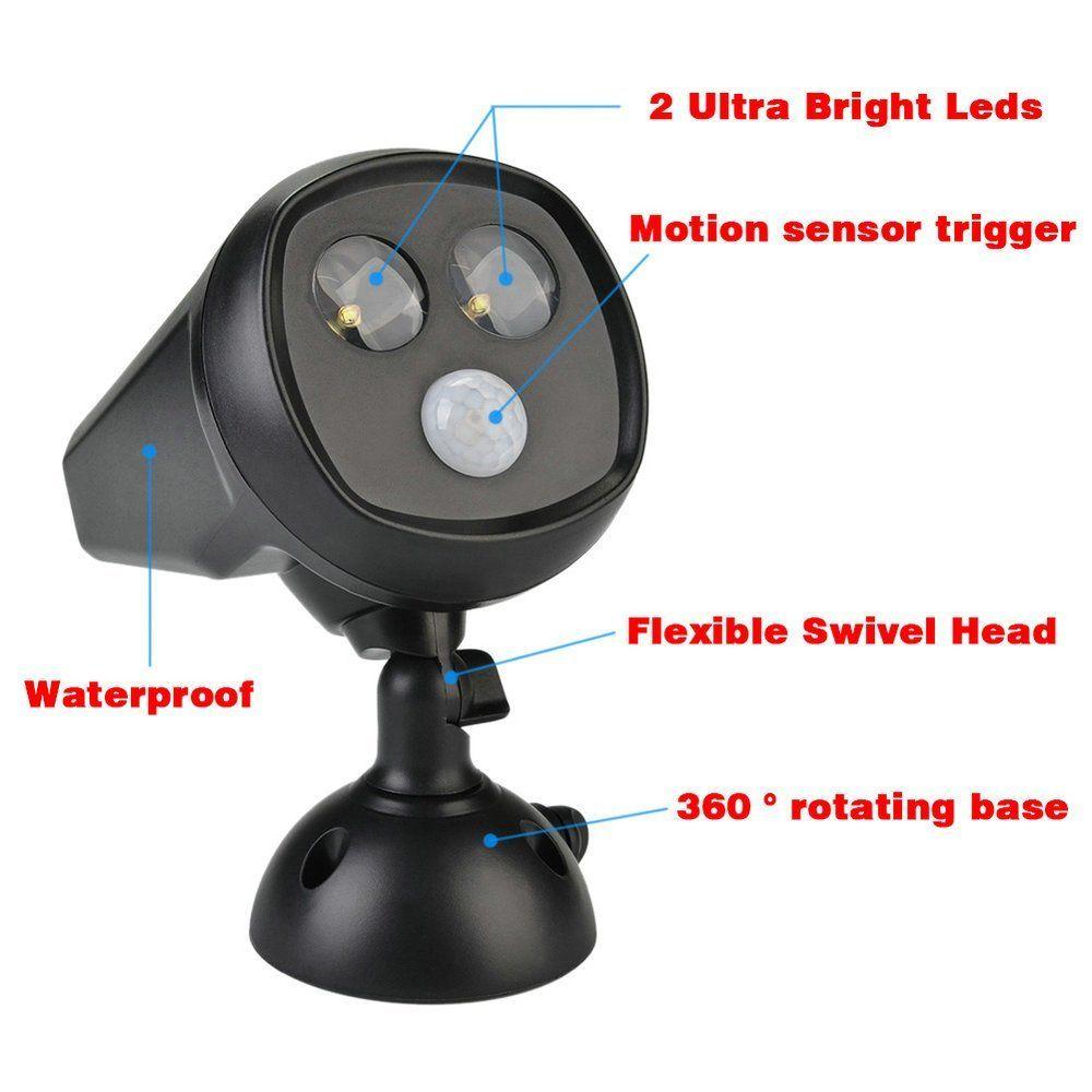 2 LED Solar Sensitive Motion Sensor Light Ultra Bright Spotlight with Solar Panel for Path Porch Garden Path Wall Light