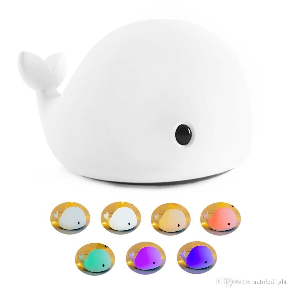 LED Children Night Light, Soft Silicone Baby Nursery Lamp with Sensitive Tap Control 7 single colors and Multicolor Breathing Dual Light Mod