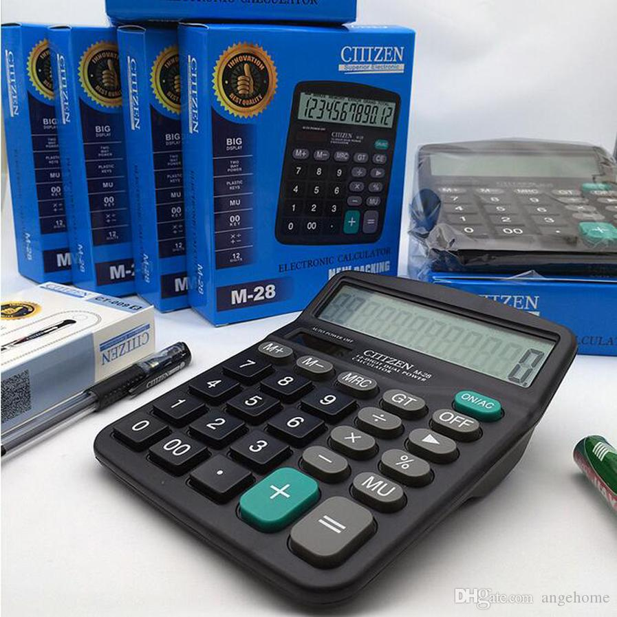 Portable Office School Commercial Tool Battery or Solar 2in1 Powered 12 Digit Electronic Calculator with Big Button, Retail box packaging