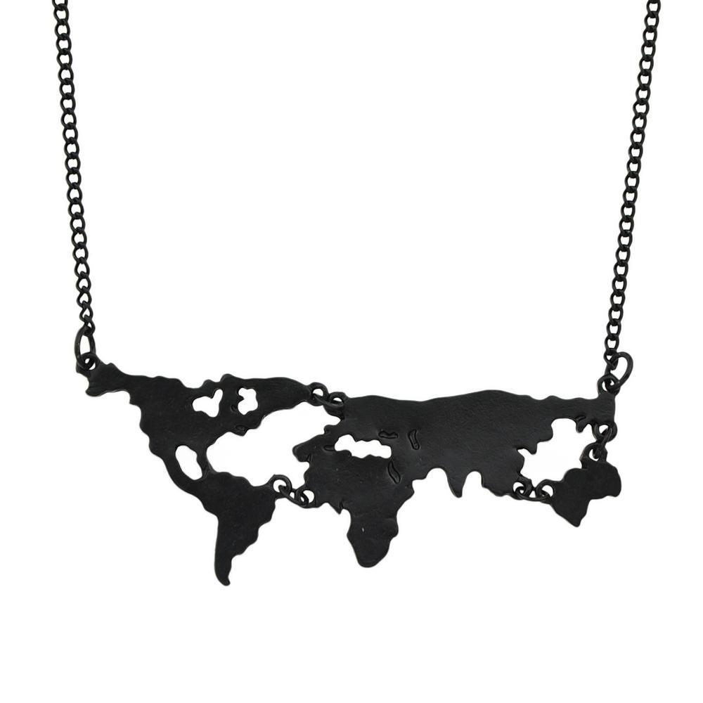 Wholesale New Gold Color Black Color World Map Shape Geometric - World map shape