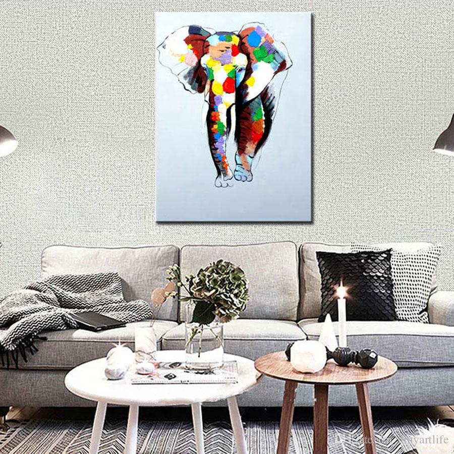2018 Hand Painted Abstract Art Oil Painting On Canvas Elephant ...