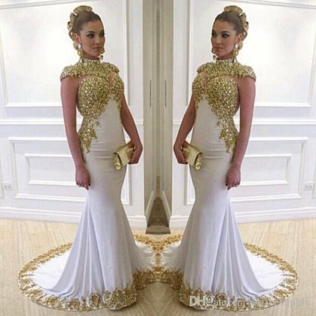 Stunning White Long Evening Dress High Neck Cap Sleeve Beaded Gold Lace Appliques Stretch Satin Mermaid Women Formal Gowns
