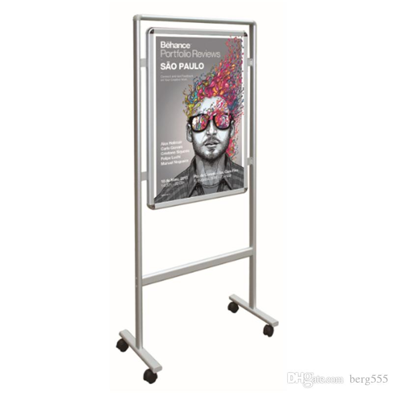 2018 Movable Double Sided Snap Poster Display With Aluminum Wheels ...
