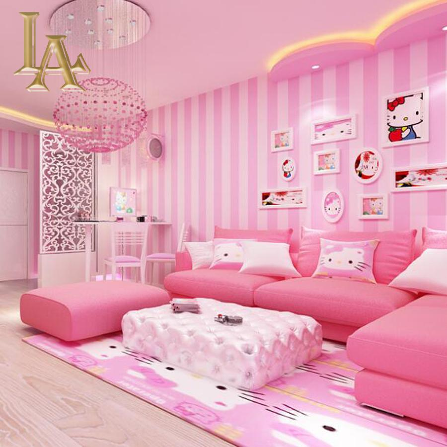 Wholesale Cozy Children Room Blue Pink Striped Wallpaper Designs Bedroom Walls Modern Home Wall Paper Rolls Papel De Parede Infantil W161 Photography