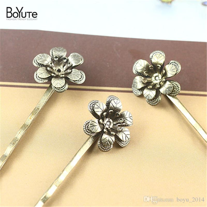 BoYuTe 18*5MM HOT Sale Filigree Flower Hair clip Plated Fashion Women Hair Accessories