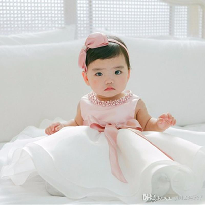 8c0175c271dc 2019 Baby Girl Cute Pearl O Neck Clothes Pink Dress First Birthday Party  Princess Dresses Infant Summer Dress Chiffon Party Cute Tutu Mini Dress  From ...