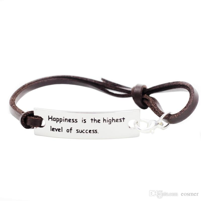 Happiness Is The Highest Level Of Sucess- Silver Leather Inspirational Bracelet With Encouragement Quote Words Life Philosophy Saying Gifts