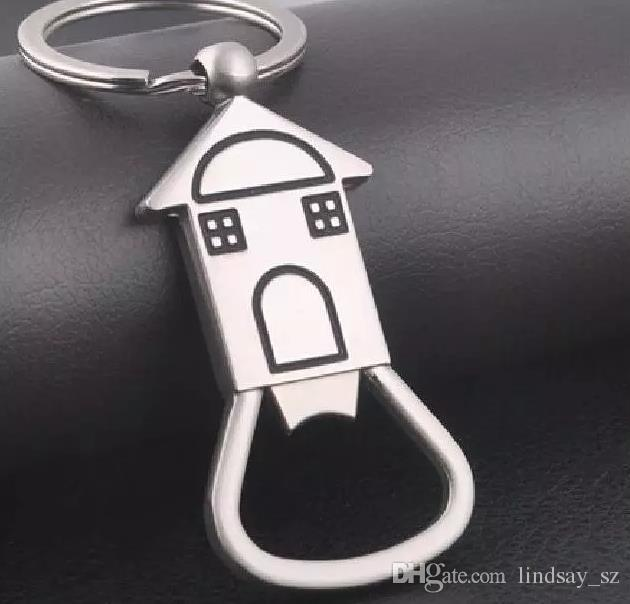 House Shaped Bottle Opener Keychain shaped zinc alloy Silver Color Key Ring Beer Bottle Opener Unique Creative Gift