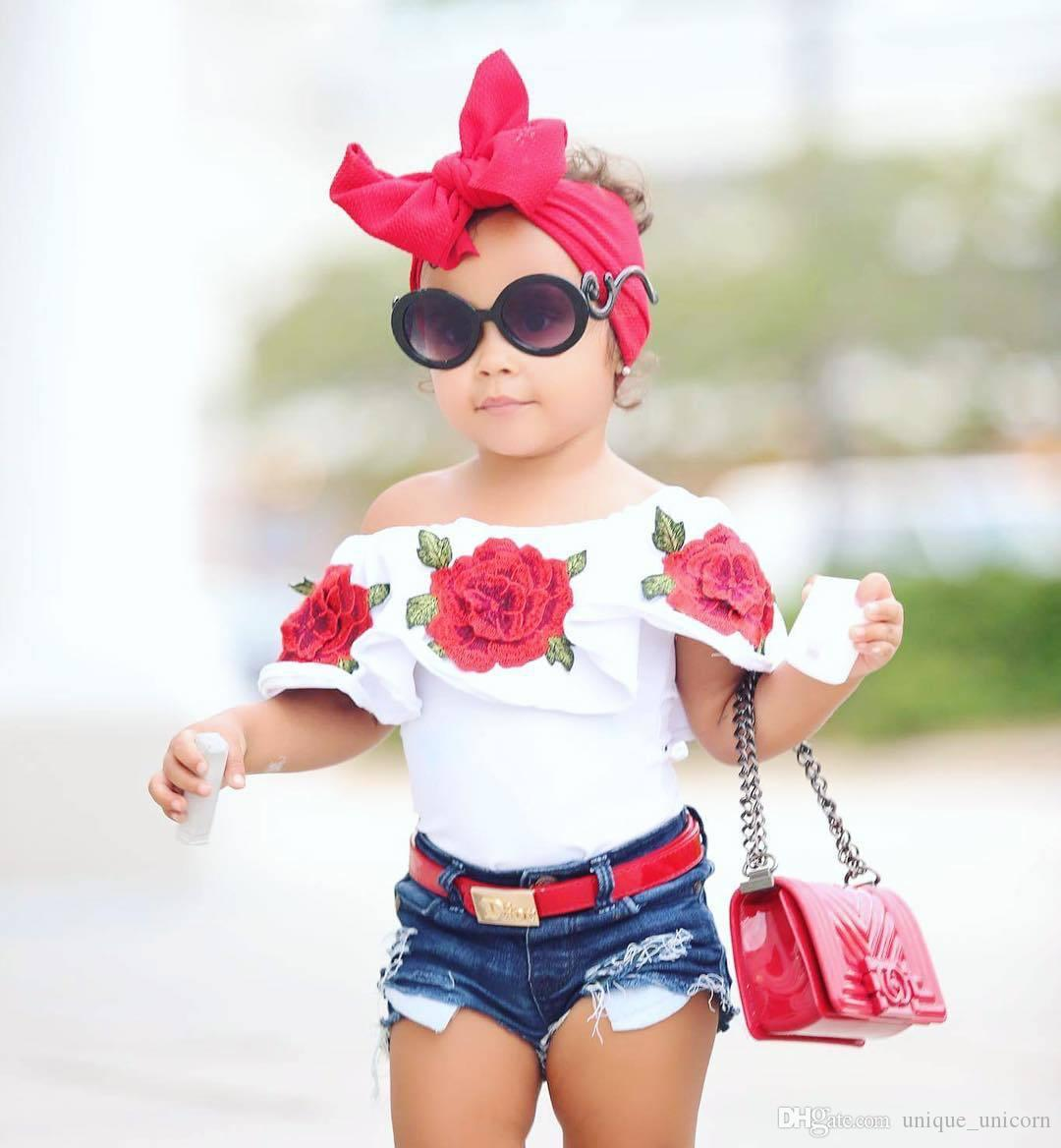 1-6 Years Old Kids Baby Girl T-shirt 2017 European fashion children Rose Flower Off Shoulder Falbala Collar tops shirt