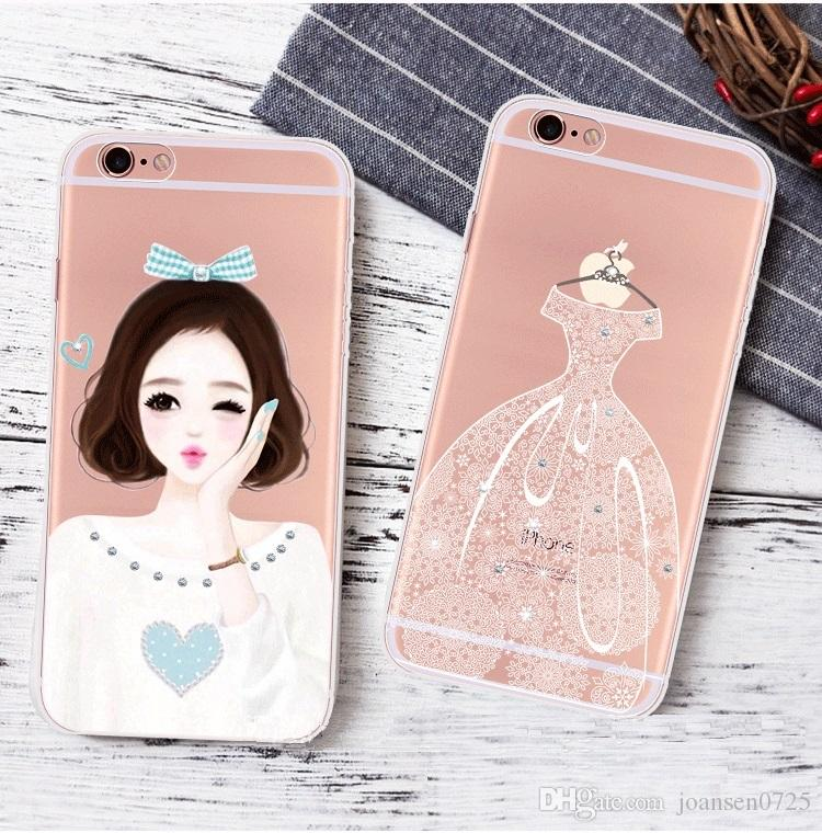 Luxury Bling Diamond flower Phone Cases Crystal TPU Cover for iphone 5S 6S 7 plus ultra thin rhinestone glitter back cover shell cases 2017