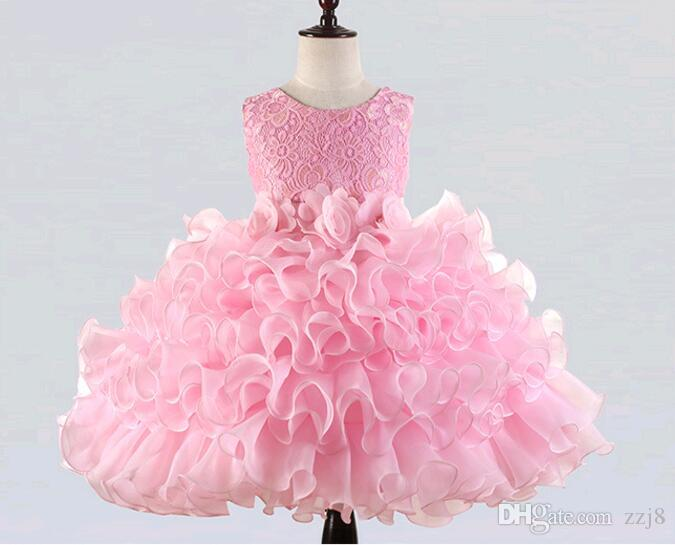 Children Princess Dresses Summer Autumn Kids Lace Hollow Flower Ruffle Tulle tutu Dress Puffy Girl Party Dress Ball Gown 2-14 years old