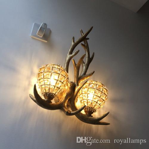 Free Shipping American Country Style Antlers Design Resin Hallway Corridor Light Toilet Table Light Wall Lamp Lamps & Shades