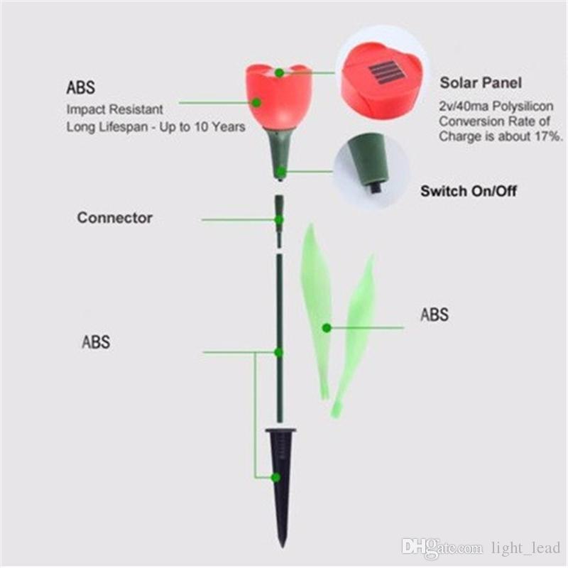 Luz solar de flor de tulipán Energía solar LED Lámparas de jardín Lámpara de flor Impermeable IP65 Luz de decoración de jardín al aire libre
