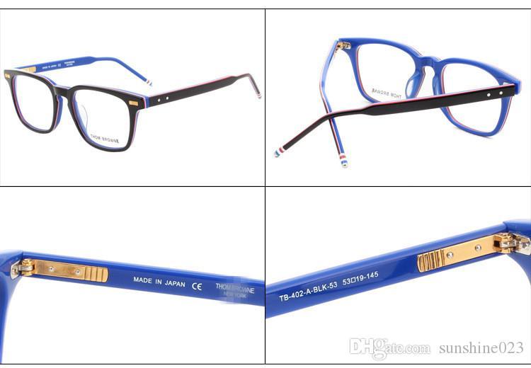 2017 Fahion Nuevos Hombres Mujeres Acetato Optical Acetato Prescripción Spectacle Square TB402 TB-402 Myopia Gafas de ojos Marco Gafas TB-402A Eyewear