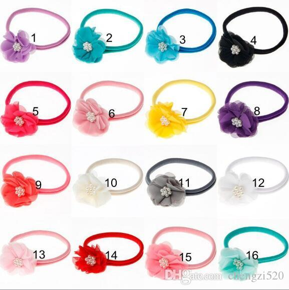 New Fashion Hot children kids Baby girls pearl diamond chiffon flower Headband Headwear Hair Band Head Piece Accessories YH670