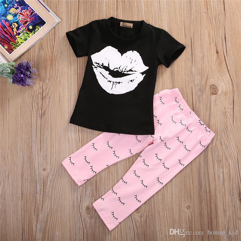 558de28399886 2 Pieces Outfit 2017 INS Autumn Spring Hot Casual Kids Clothing Newborn  Infant Baby Girl White Lip Black T-suit Pink Suit 0-5Y Wholesale