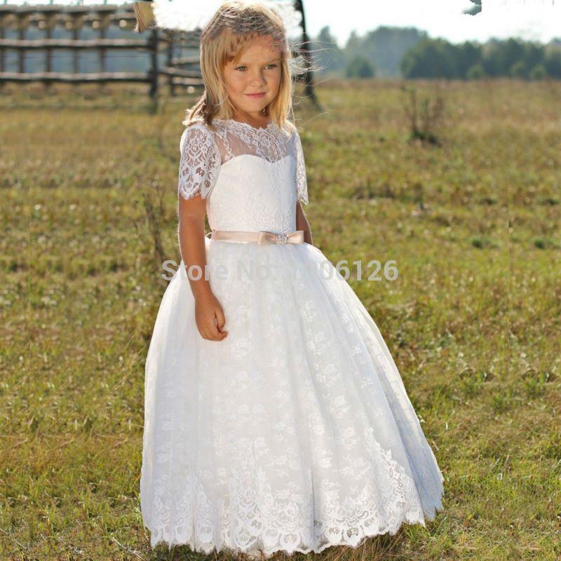2019 NEW Cute Kids Frock Designs First Communion Dresses For Girls Formal White Lace Flower Girl Dress Vestido infantil festa