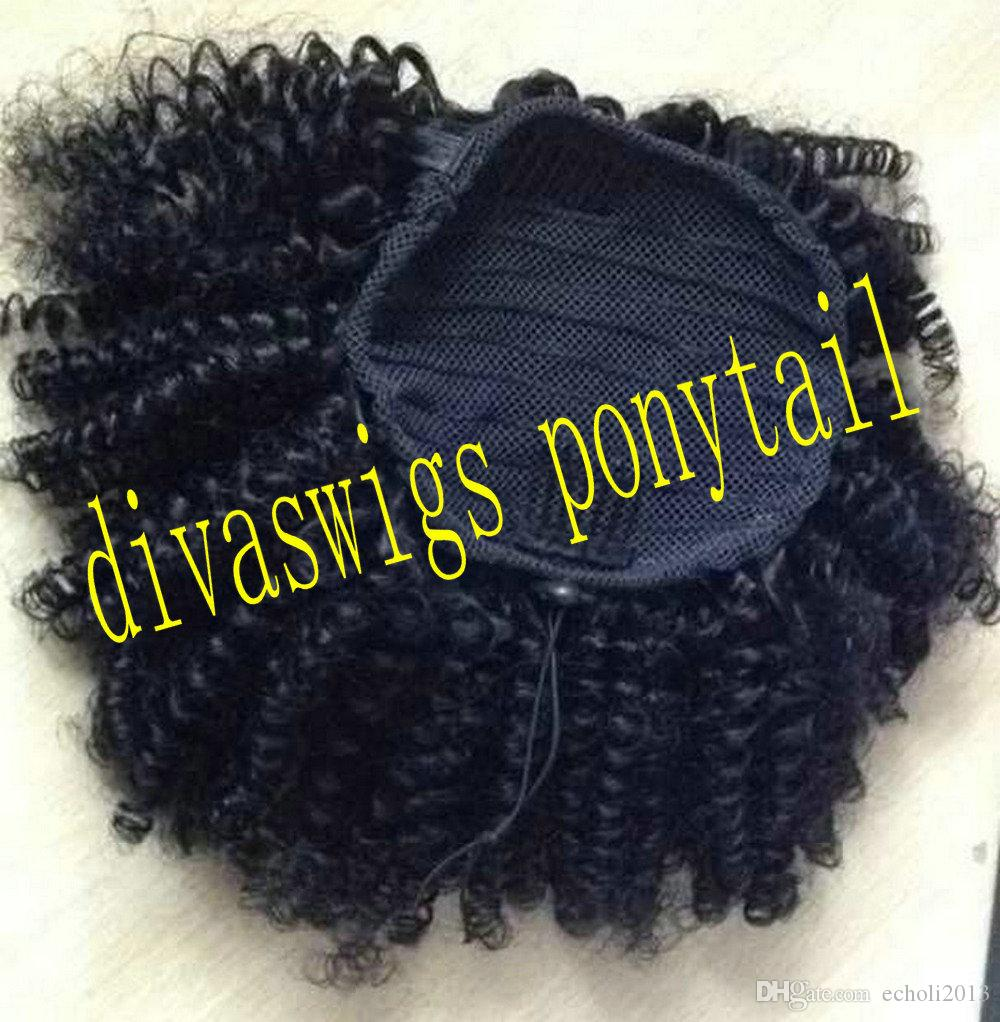 Short High Ponytail Afro Puff Curly Ponytail Hair Extension Dark Brown Indian Virgin Hair Drawstring Ponytail For Black Women