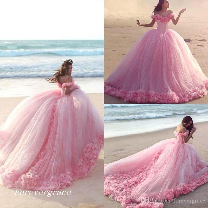 Luxury Long Princess Puffy Wedding Dress High Quality Pink Ball Gown ...
