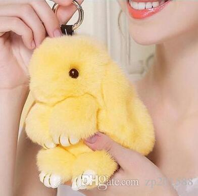 Cute Fluffy Bunny Rabbit Keychain Halloween Rex Rabbit Fur Key Chain Pendants For Keys Bag Car Hare Pompom Dolls Toy Key Rings Jewelry