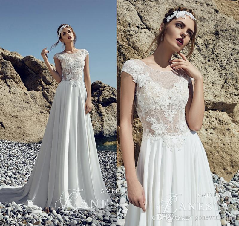 Discount Summer Beach Wedding Dresses 2017 Lace Bodice With Pearls ...