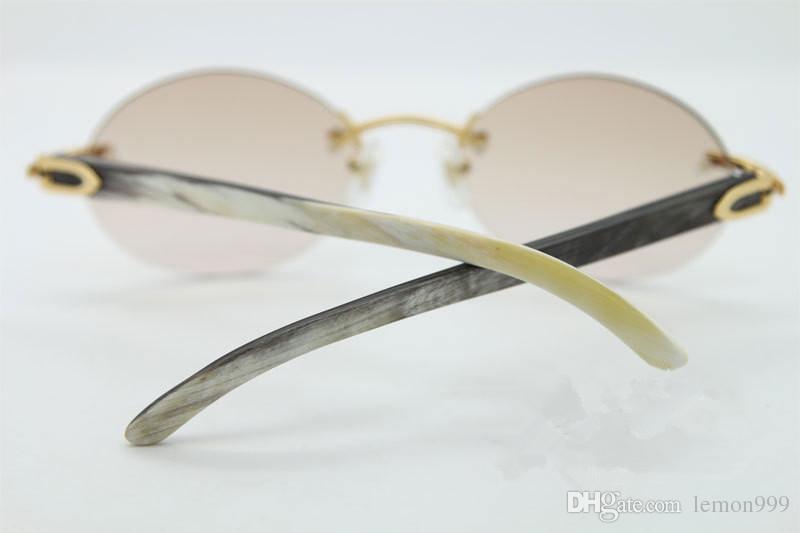 Brand Designer Round Sunglassses Luxury Retro Rimless Occhiali da sole Exquisite Black White Buffalo Horn Occhiali uomo Donna Custodia originale