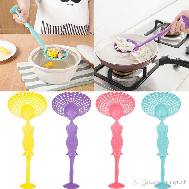 Creativo puede sostener una cuchara larga cuchara grande Colador cucharada colador antiadherente cuchara cucharas accesorios de cocina LZ0115