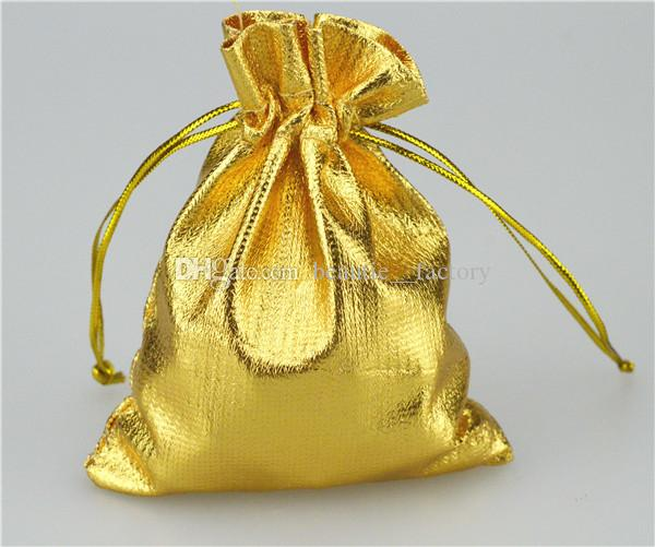 골드 / 실버 헝겊 가방 보석 파우치 선물 포장 9 X 12 cm 3.5 x 4.7 인치 선물 가방