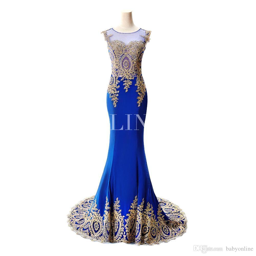 Sexy pure kanten zeemeermin lange prom jurken onder de 60 elegante koninklijke blauwe avond feestjurken vestido de festa longo cps234