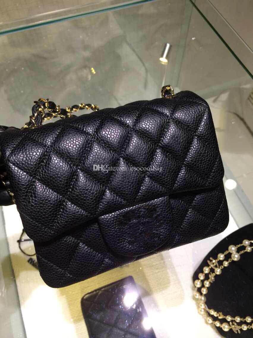 Dameart und weise echtes Lederhandtaschen geben Verschiffen dorsill Mini 2015 ursprüngliches Kaviar Kalbslederart und weise Kreuzkörperbeutel Frau 1115 Schwarzes an