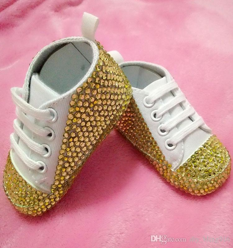 472c3a1d6d55 Bling Bling Handmade Baby Shoes with Yellow Rhinestone Girl s Shoes ...