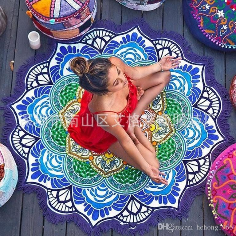Carpets Polygon Stamp Hanging Ball Tassels Circular Yoga Mat Round Fringed Lotus Colorful Beach Towel Blanket Shawl 24ag
