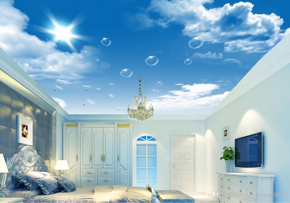 Acheter Personnalise 3d Ciel Plafond Papier Peint Hd Bleu Ciel Blanc