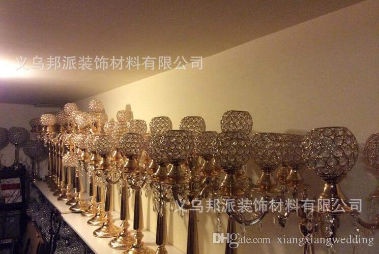 Metal Gold/ Silver Candelabras with Crystal Pendants 5-arms Wedding Candle Holder Event Centerpiece 75cm/ 95cm Height