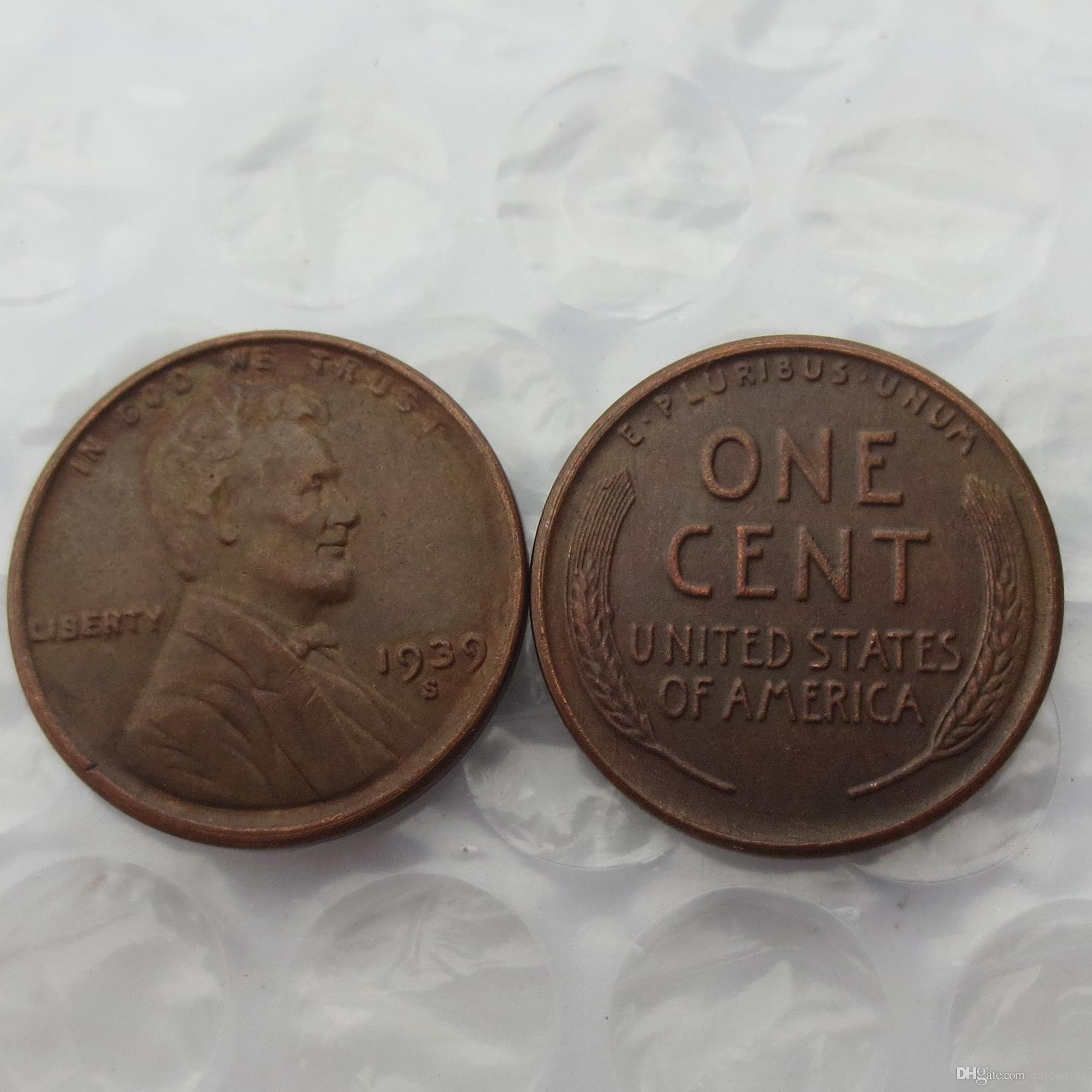 Großhandel 1939s Lincoln One Cents Copy Usa Münzen Unterscheiden