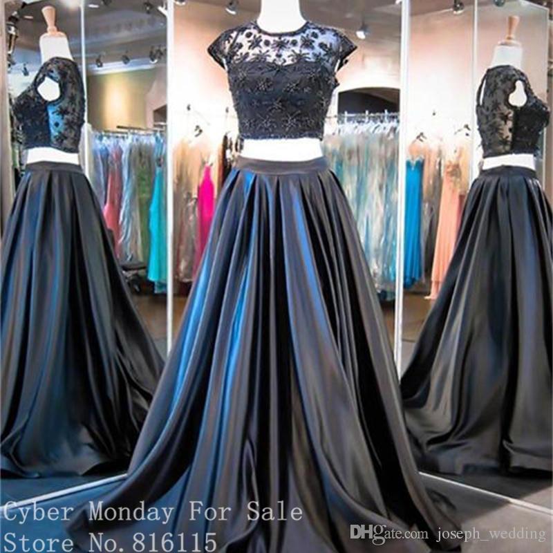 Nouveau Design Deux pièces Robes De Bal 2019 Mode O-Cou Appliques Noir Couleur Longue Robe De Bal Formelle Femmes Robe De Soirée De Soirée