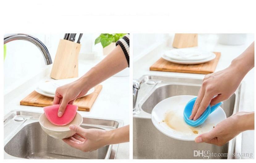 Spazzole la pulizia della ciotola del piatto magico in silicone Spazzole la pulizia Spazzole vaschetta Lavaggio pentole Cucina più pulita