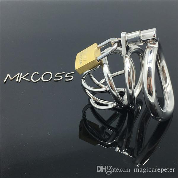 Male Chastity Device Bird Lock Stainless Steel Cock Cage Sex toys cb6000s Sex Toys Bondage device MKC055