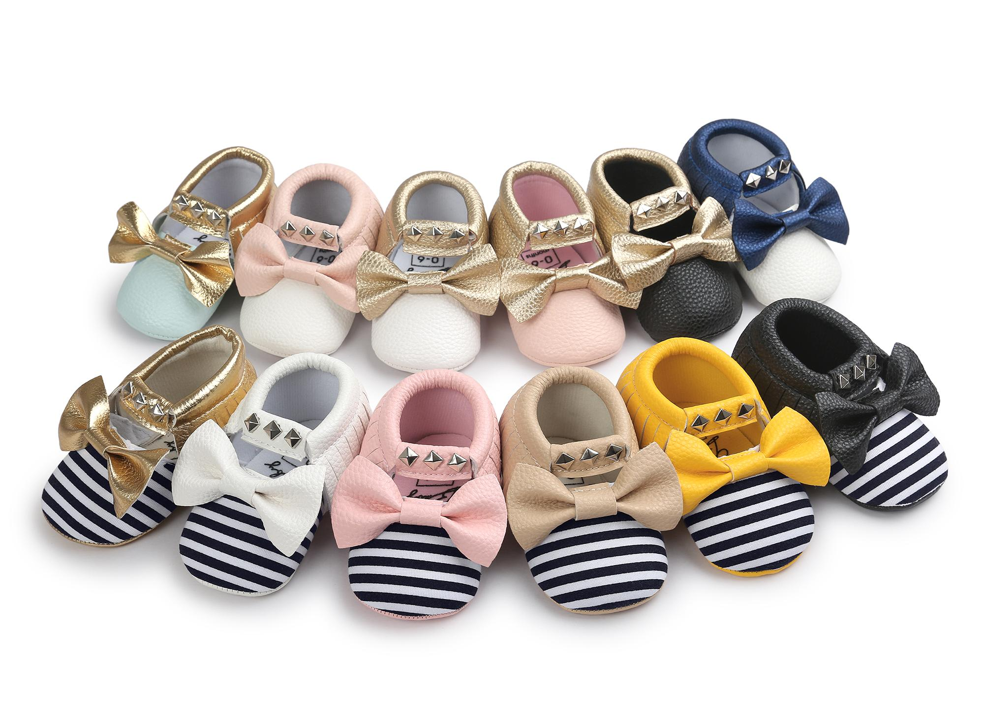 e1fa594e98889 2019 Can Mix StylesNo Brand Newest Baby Girl Moccasins Soft Bottom  Butterfly Knot Stripe Baby Girl Shoes Tassels Baby Shoes From Taolebi