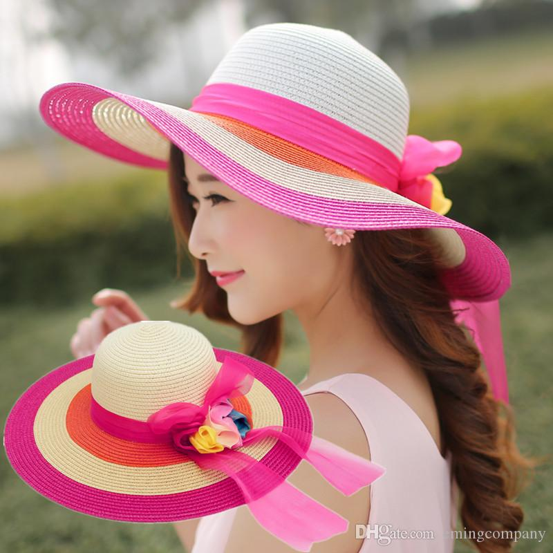 Elegant Big Straw Beach Flower Hats With Bow Ladies Wide Brimmed ... fbdcaf9635de
