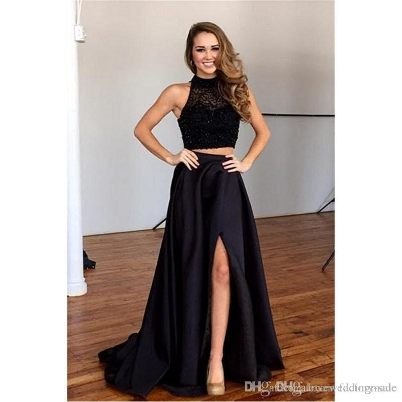 Elegant Black Two Pieces Prom Dresses Luxury Beads Lace Top Satin Skirts Long Formal Evening Party Wear Split Side 2017