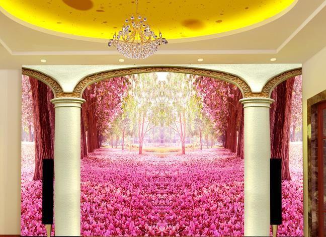 3D stereo Roman pillar romantic cherry background wall decoration modern wallpaper for living room