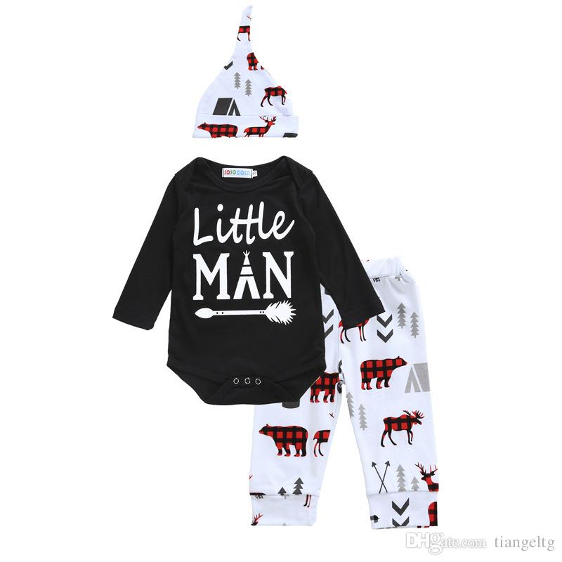 Boys Girls Clothing Sets Letters Little Man Winter Autumn Spring Casual Suits Shirts Pants Hat Infant Outfits Kids Tops & Shorts 0-24M