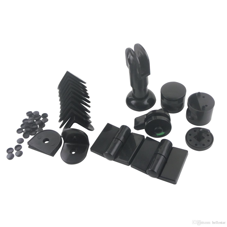 Black Plastic Public Toilet Partition Hardware Accessories WC